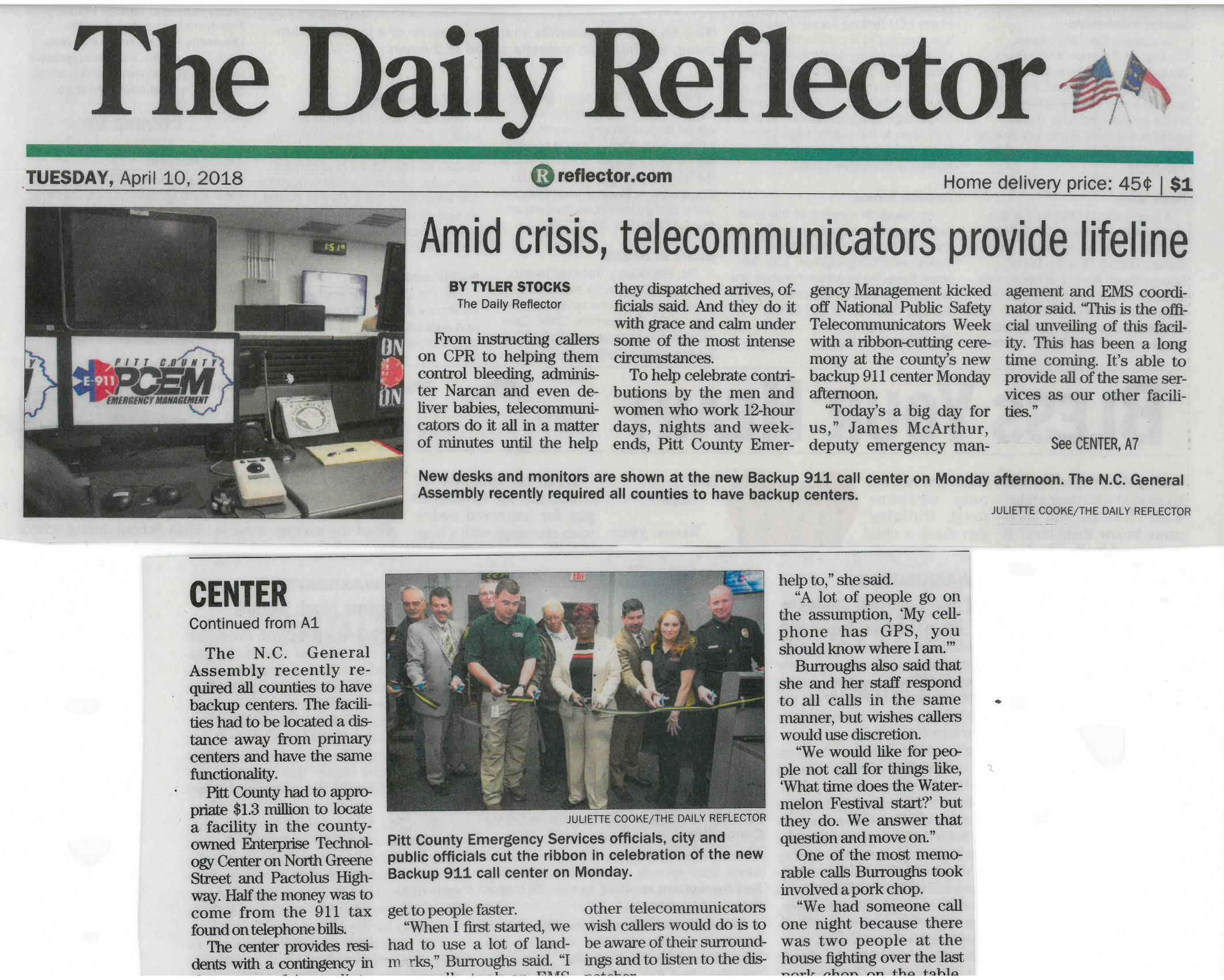 911 Newspaper article about 911 backup center