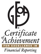 GFOA Certificate of Achievement for excellence in financial reporting logo