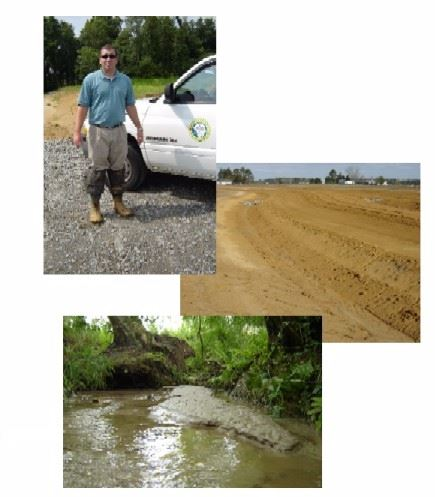 Images of a man in waders, a field of sediment, and a river bank