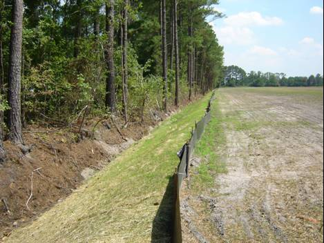 Outlet ditch following the construction
