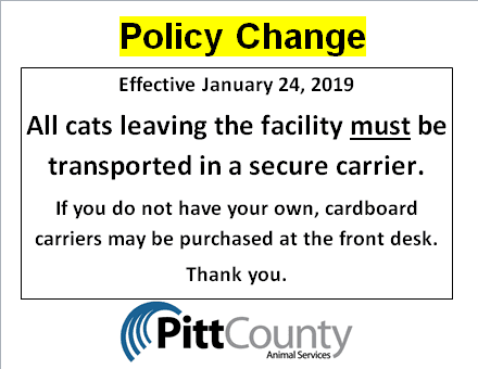 Policy Change Notice Regarding Cat Carriers