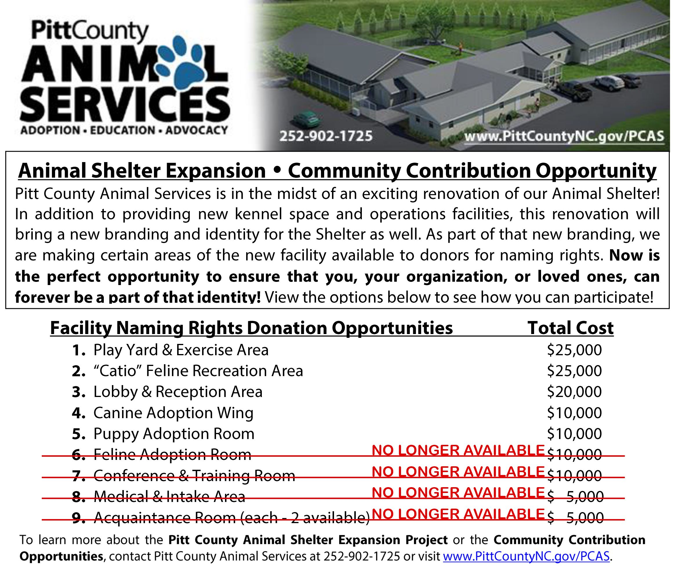 Animal Shelter Expansion Community Contribution Project Opportunities